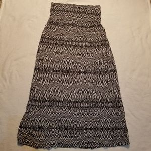 Cynthia Rowley 2 in 1 maxi dress skirt black ikat